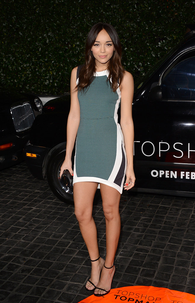 Ashley Madekwe showed off her gorgeous stems in a sportier green, white, and black minidress, offsetting the look with just simple black sandals.