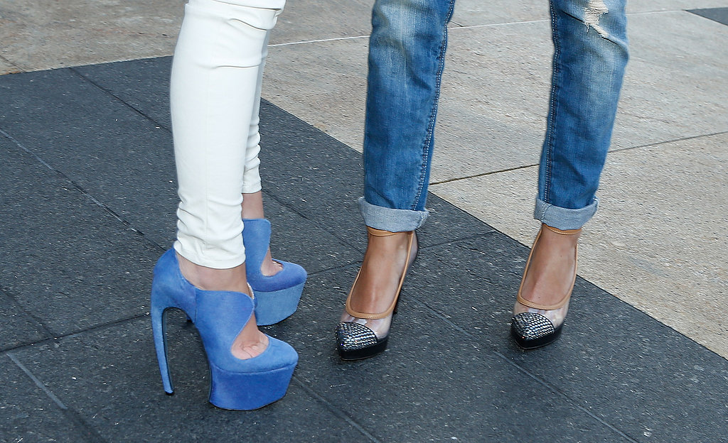 Bold baby-blue platforms contrasted simple white skinnies at left; at right, it was all about the classics — a great pair of pumps and easy blue jeans.