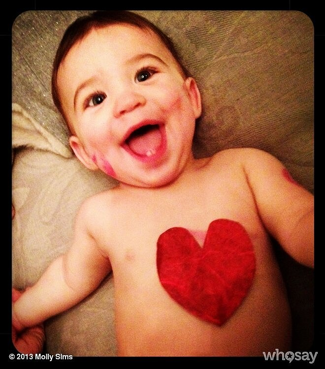 Molly Sims's lil guy, Brooks, was all smiles on Valentine's Day morning! Source: Twitter user MollyBSims