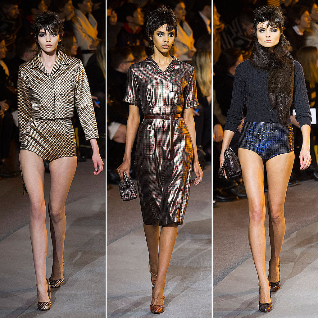 The models at Marc Jacobs walked around the runway bathed in sepia-toned light.
