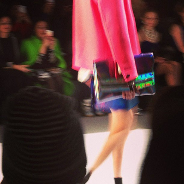 Milly presented a lineup of holographic clutches.