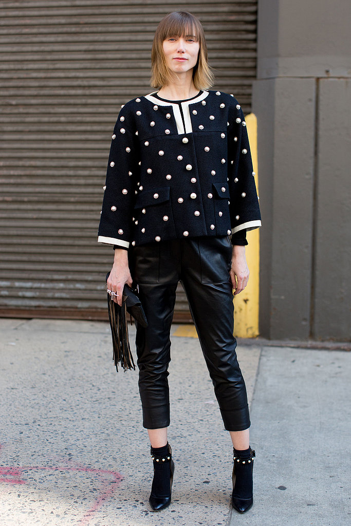 A ladylike, embellished jacket sweetened up leather trousers and ankle boots.