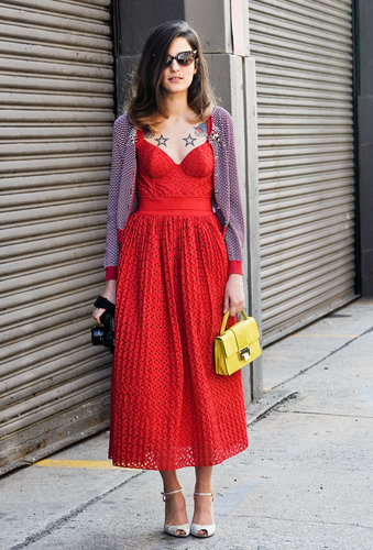 A brilliant red dress was all the wow-factor this look needed — but a sweet yellow satchel is a nice addition.