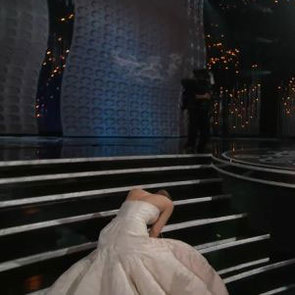 Jennifer Lawrence Trips at the Oscars GIF