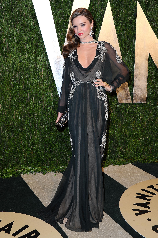 Miranda Kerr arrived at the Vanity Fair Oscar party on Sunday night.