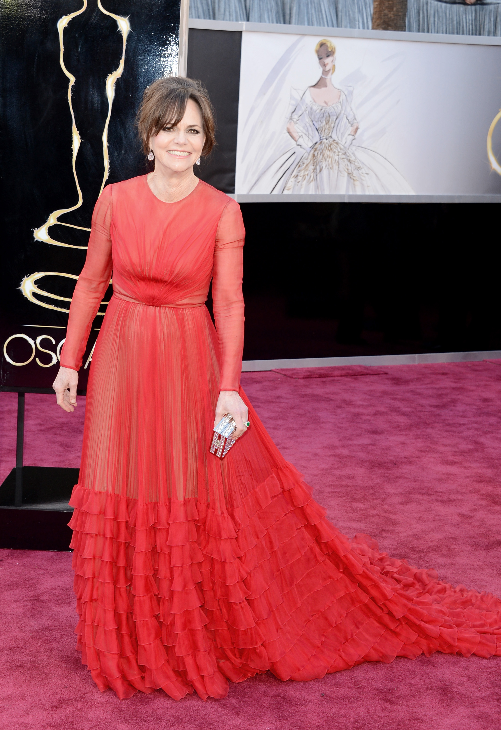 Sally Field on the red carpet at the Oscars 2013.