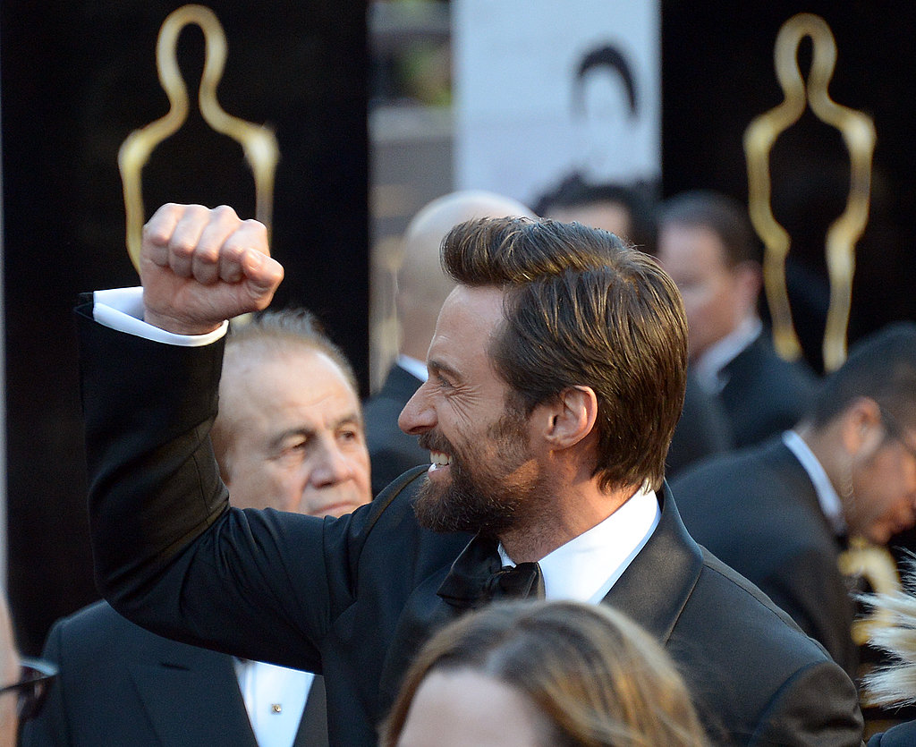 Best actor nominee Hugh Jackman was in a winning mood.