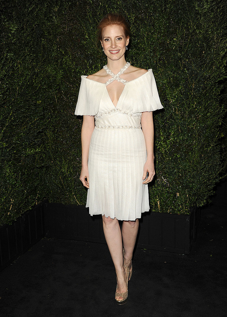 Jessica Chastain wore Chanel to an Oscars bash.