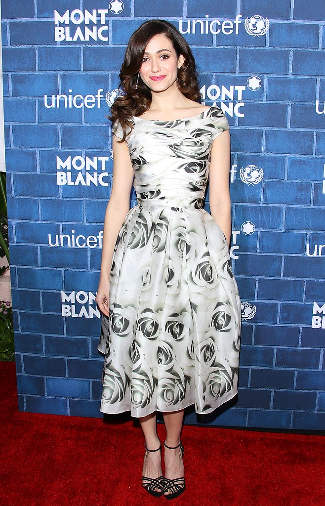 Emmy Rossum wore a patterned dress.