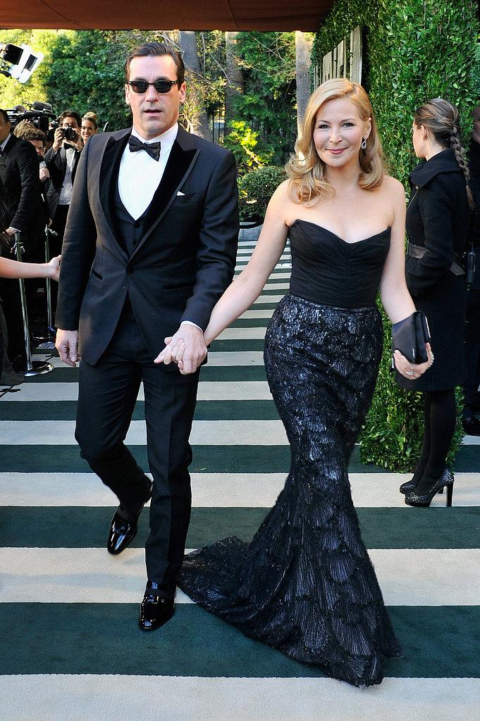 Jon Hamm and Jennifer Westfeldt arrived at the Vanity Fair Oscar party on Sunday night.