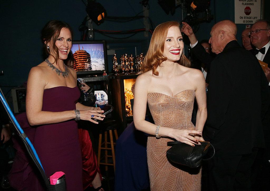 Jennifer Garner and Jessica Chastain backstage at the 2013 Oscars.