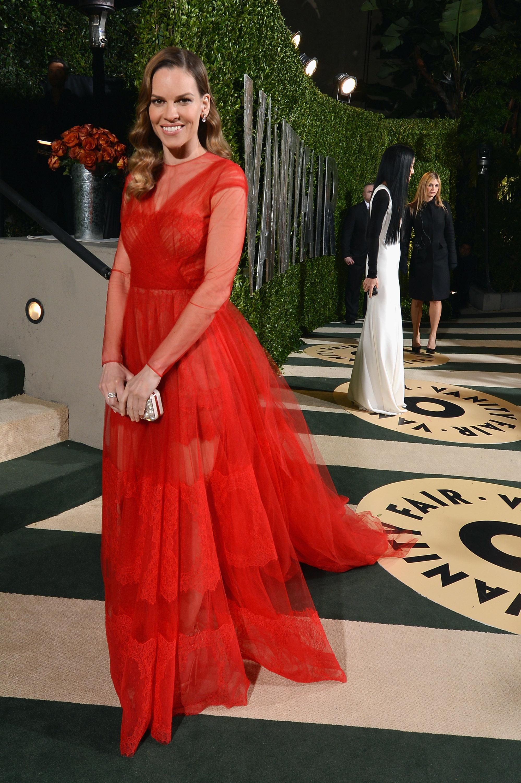 Hilary Swank arrived at the Vanity Fair Oscar party on Sunday night.