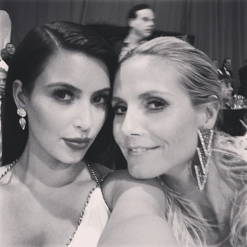 Kim Kardashian and Heidi Klum snapped a photo at an Oscars afterparty. Source: Instagram user kimkardashian