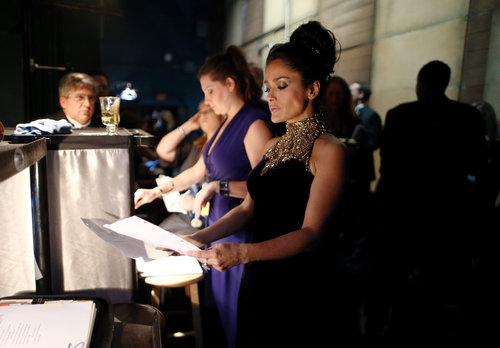 Salma Hayek prepped for her presenting role backstage.