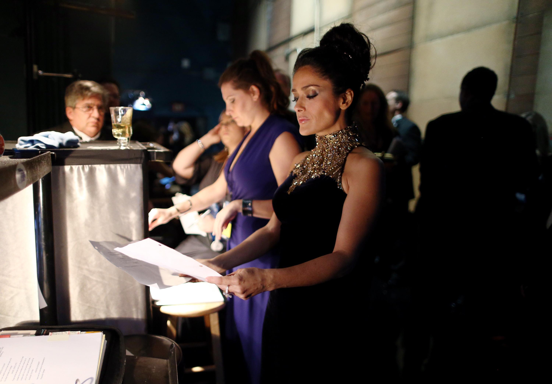 Salma Hayek backstage at t