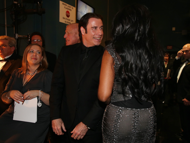 John Travolta and Jennifer Hudson backstage at the 2013 Oscars.