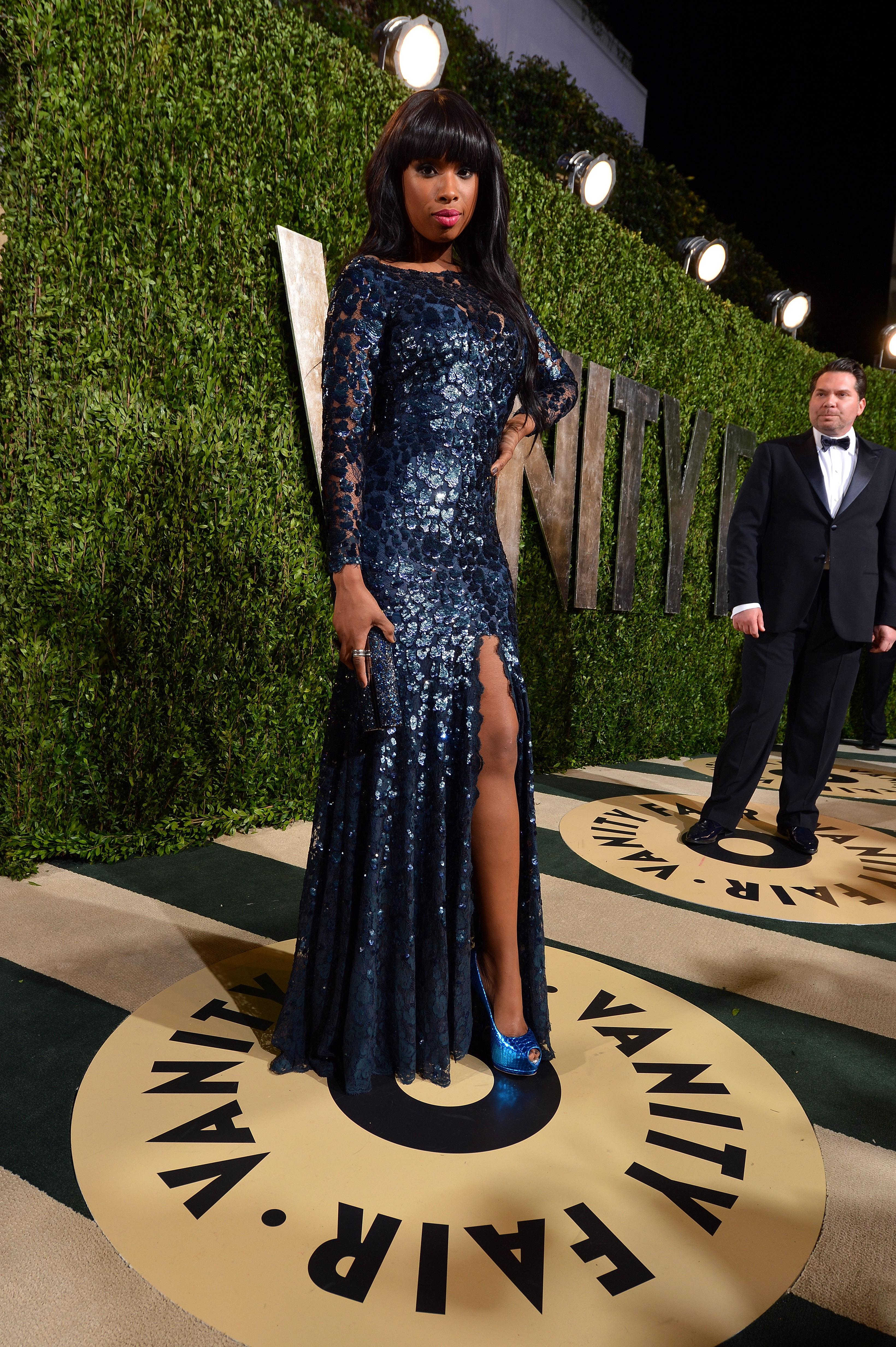 Jennifer Hudson arrived at the Vanity Fair Oscar party on Sunday night.