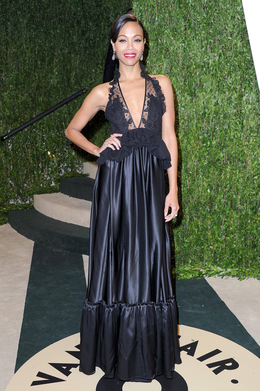 Zoe Saldana arrived at the Vanity Fair Oscar party on Sunday night.