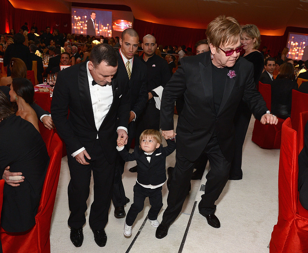 Elton John and David Furnish brought their son Zach to the festivities.