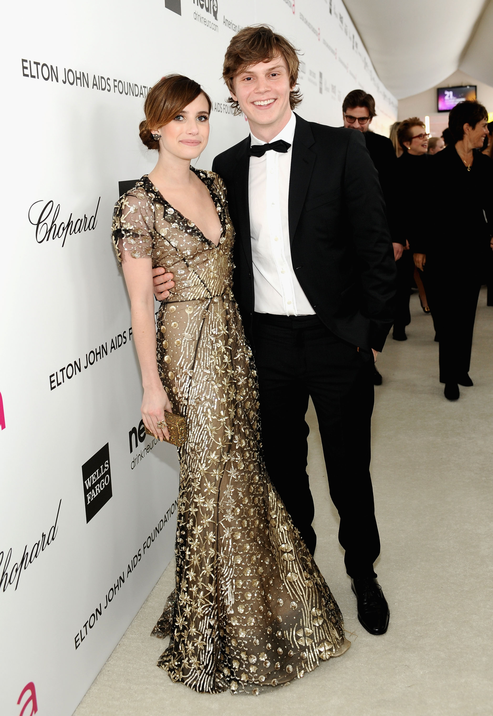 Emma Roberts arrived at Elton John's Oscar party with Evan Peters.