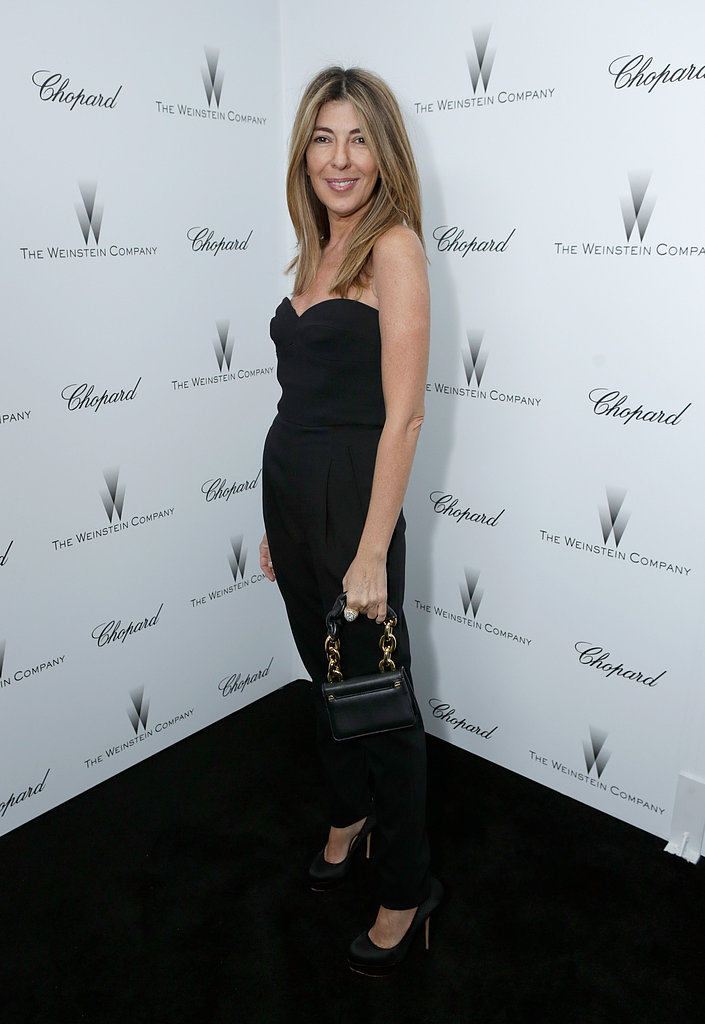 Nina Garcia went with a black strapless jumpsuit and black satin pumps for the Weinstein festivities.