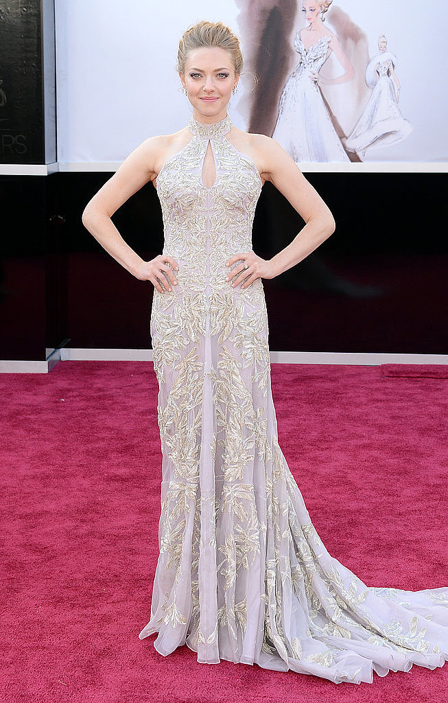 Amanda Seyfried donned a custom embellished Alexander McQueen featuring a dramatic high neckline and a keyhole cutout.