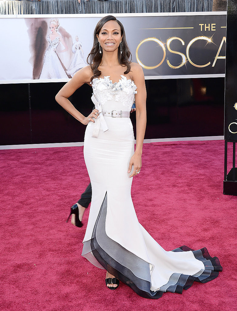 Zoe Saldana opted for an Alexis Mabille Couture gown featuring gorgeous floral embroidery and a modern hemline.