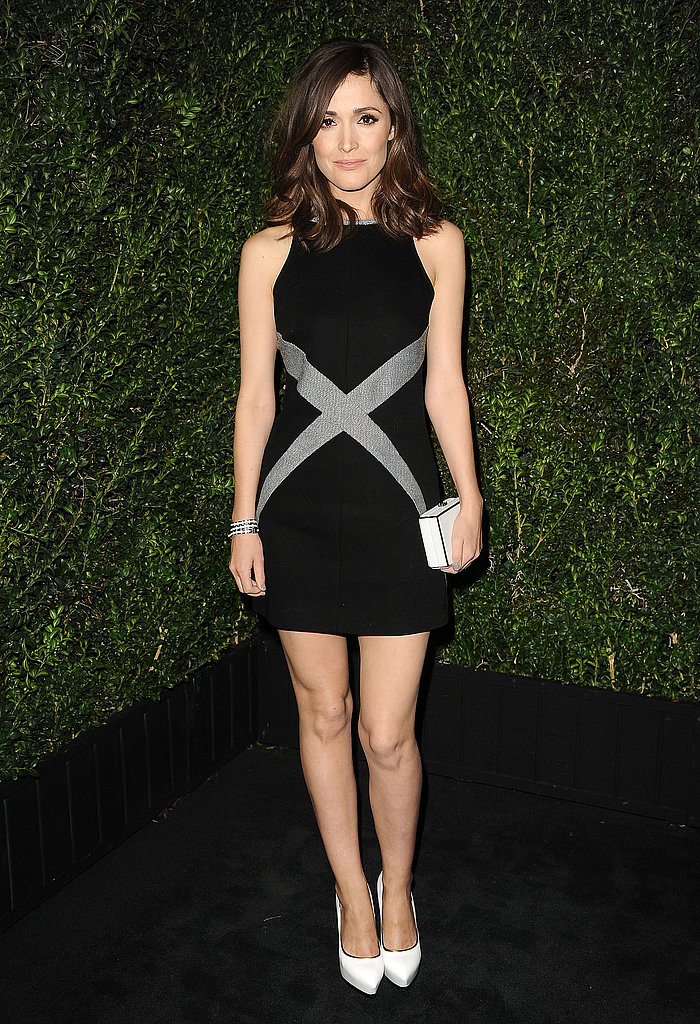 At the Chanel dinner, Rose Byrne stepped out in a mod-inspired black-and-silver Chanel minidress — certainly one of the evening's more playful ensembles — and paired it with white accents.