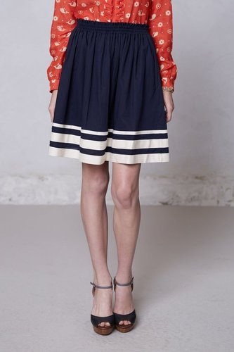 Shirred-Striped Skirt