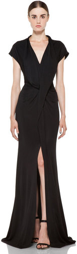 GIVENCHY Viscose Gown with Slit in Black