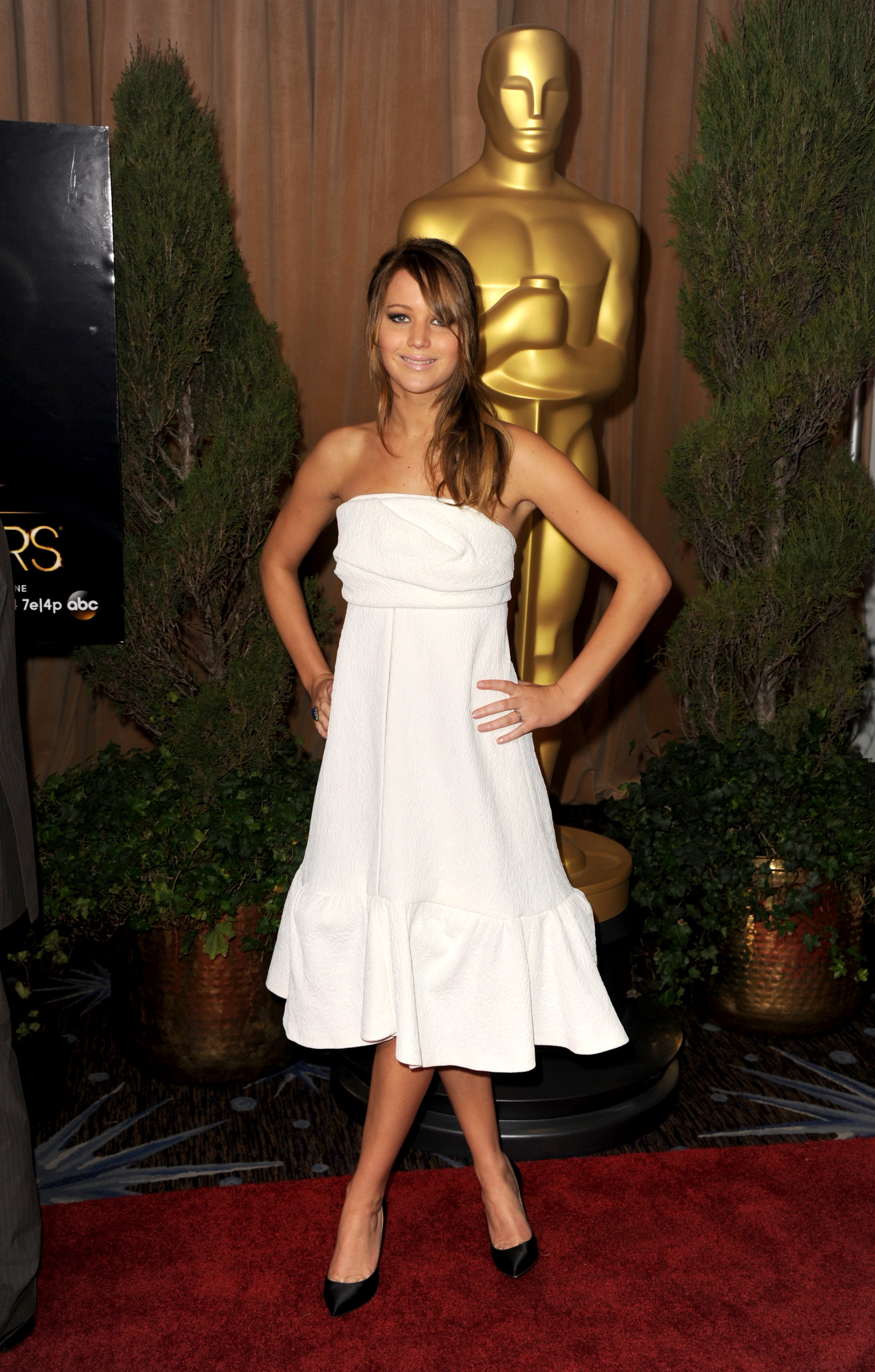 Jennifer Lawrence arrived at the Oscars Luncheon in Beverly Hills in February wearing a white dress.