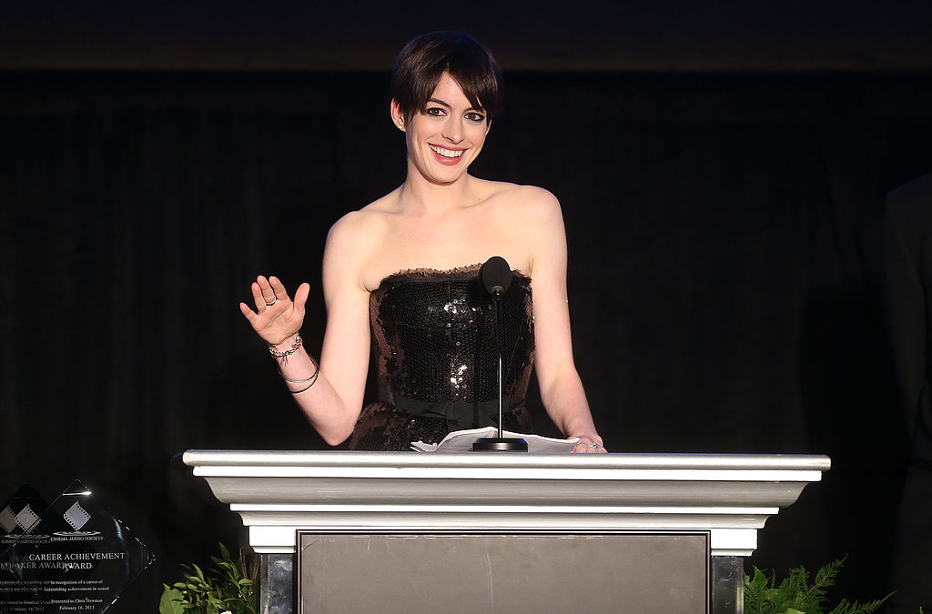 Anne Hathaway took the stage at the 49th annual Cinema Audio Society Awards.