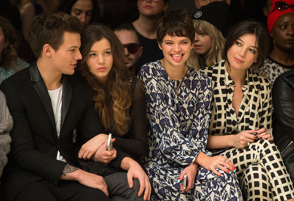 Louis Tomlinson and Eleanor Calder sat next to Pixie Geldof and Daisy Lowe at Topshop Unique's front row on Sunday.