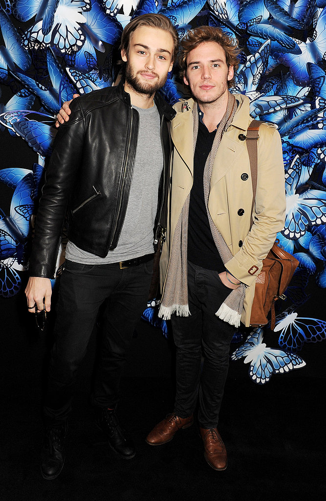 Douglas Booth and Sam Claflin attended the Mulberry Autumn/Winter 2013 fashion show on Sunday.