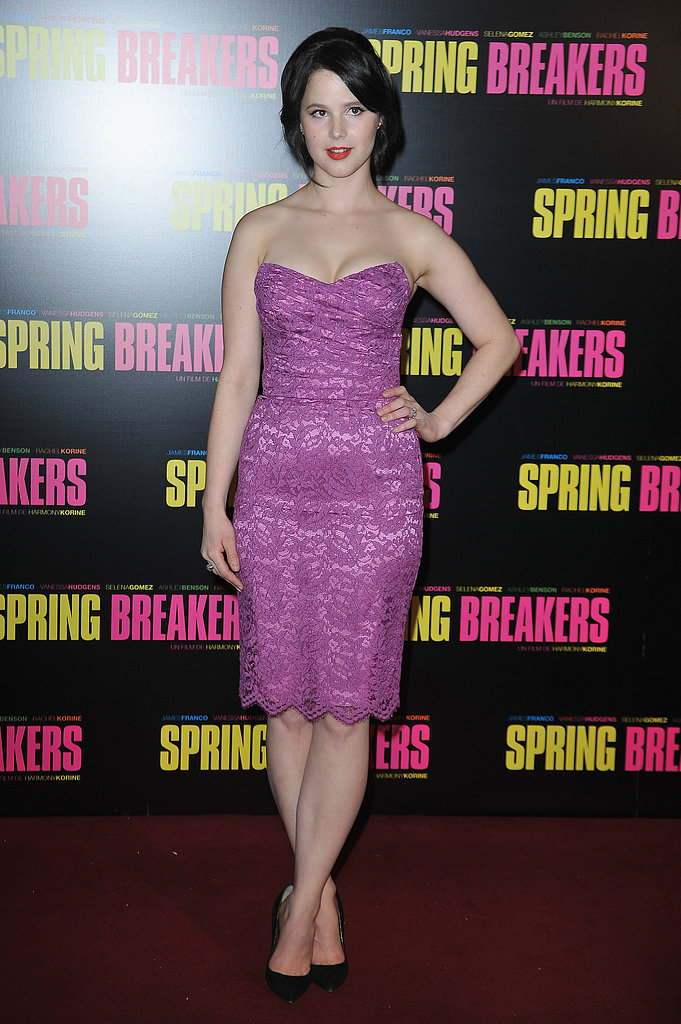 Rachel Korine decided on a purple lace dress for the Paris premiere of her film Spring Breakers.
