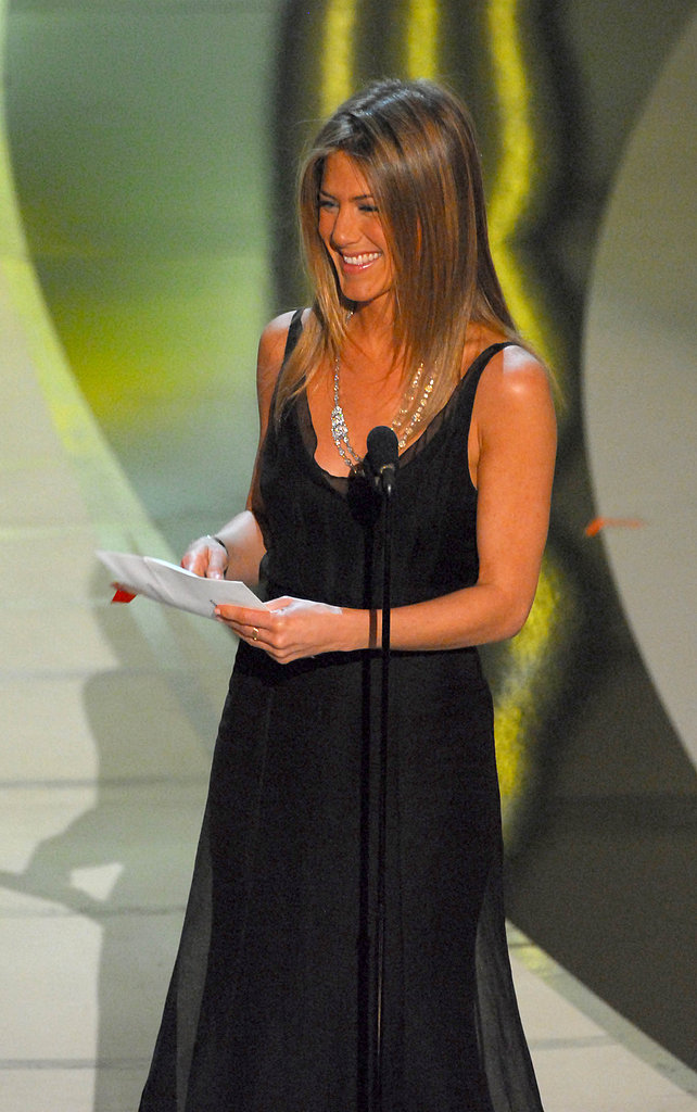 In 2006, Jennifer Aniston presented the award for best costume design. She wasn't up for any honors, but her Friends With Money costars, Frances McDormand and Catherine Keener, were both nominated in the best supporting actress category for other films.