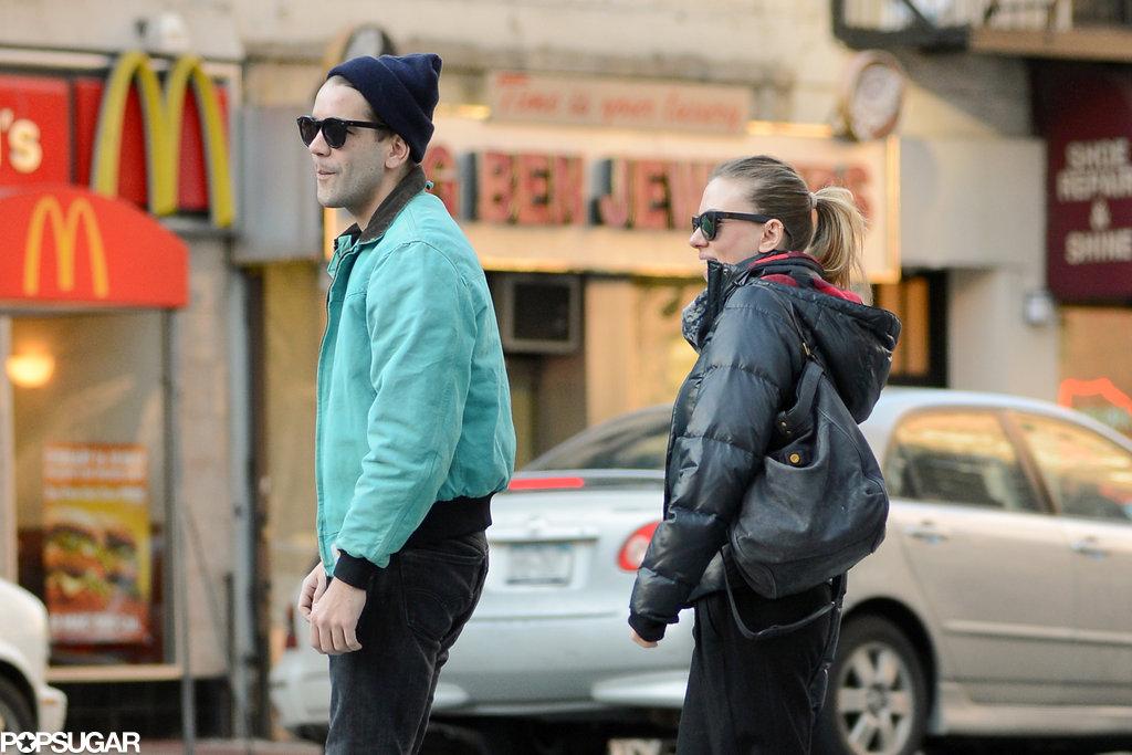 Scarlett Johansson and Romain Dauriac crossed a street in NYC.