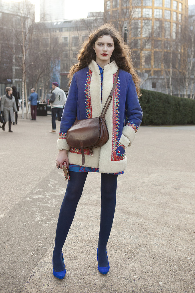 This shearling-lined jacket added almost folkloric sweetness to this attendee's ensemble.