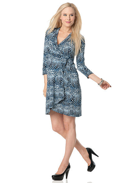 This BCBG Long Sleeve Wrap Maternity Dress ($185) from A Pea in the Pod brings some color to the animal-print pattern.