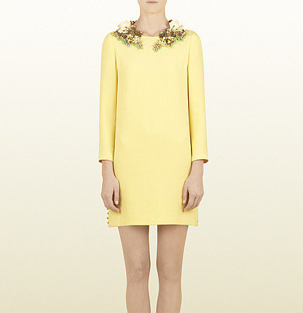 Pale Yellow Silk Creponne Dress With Hand Embroidered Floral Neckline