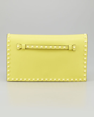 Valentino Rockstud Flap Clutch Bag, Soft Yellow