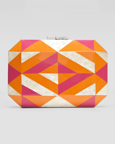 Rafe Dawn Shell & Enamel Minaudiere, Orange/Pink