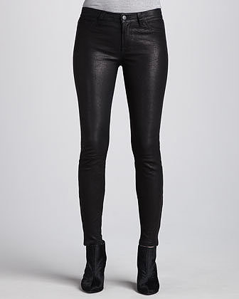 J Brand Jeans L8001 Noir Leather Super Skinny Pants