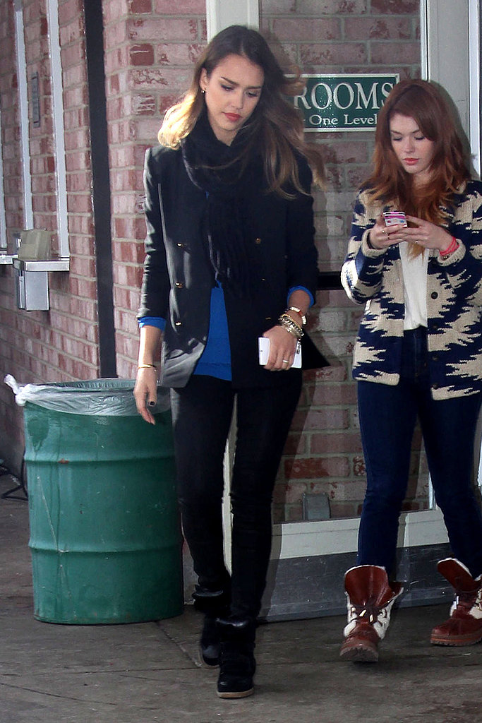 Jessica brightened her all-black lookwith a cobalt sweater during the Sundance Film Festival in Utah.