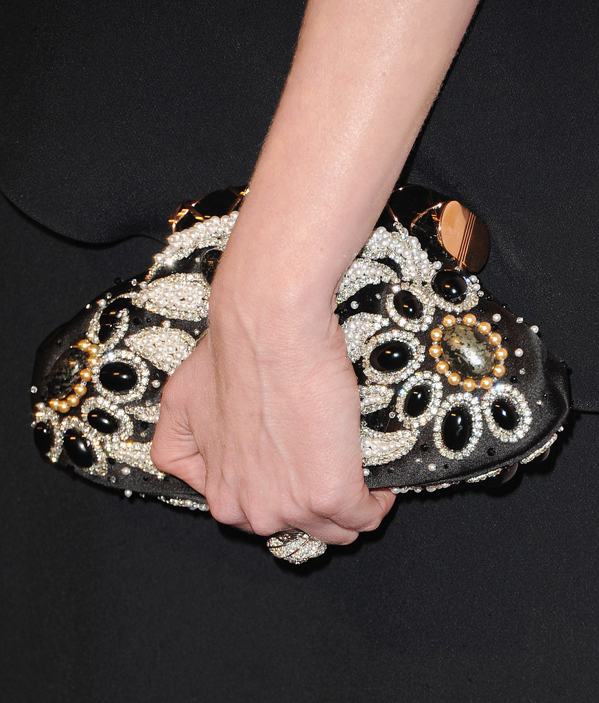 A closer look at Kirsten's intricately beaded clutch.