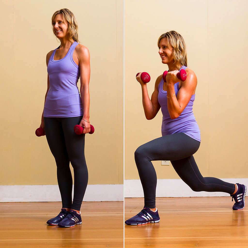 Circuit Two: Reverse Lunge With Bicep Curls