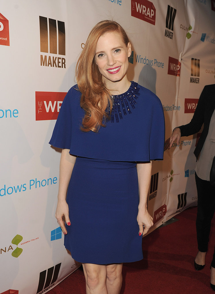 Jessica Chastain wore a blue Andrew Gn dress at a pre-Oscars party in LA.