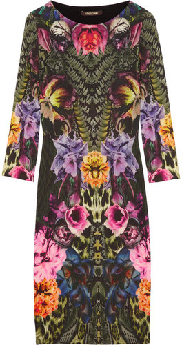 Roberto Cavalli Printed wool-blend jersey dress