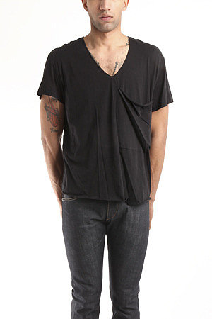 3.1 Phillip Lim Hand Rolled V-Neck Tee with Slouch Pocket in Black