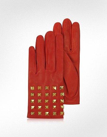 Valentino Garavani Rockstud Red Leather Gloves w/ Silk Lining